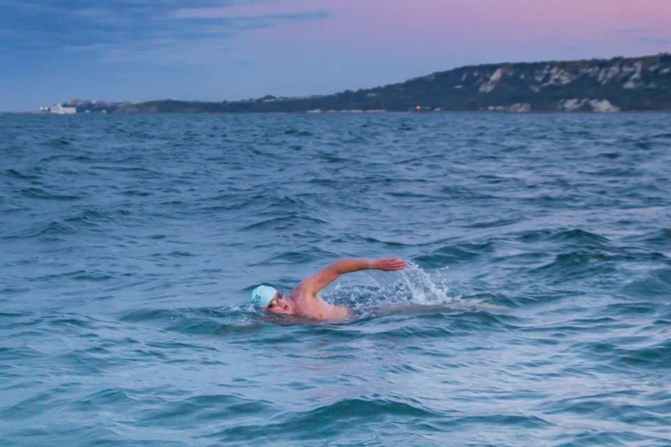 Start of the swim with Folkestone in the background