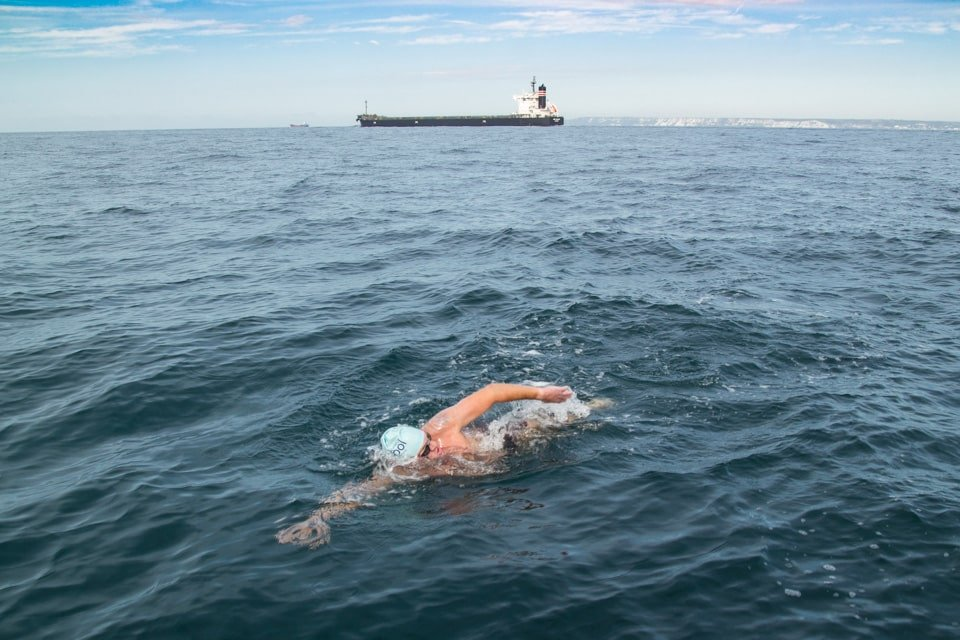 Swimming through the south west shipping lane on the English side of the Channel